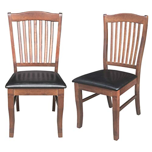 "Giantex Set of 2 Dining Chairs Wood Armless Chair Home Kitchen Dining Room High Back Chairs w/PU Leather Padded Seat (17.5""×21""×40″(W×D×H), Coffee)"