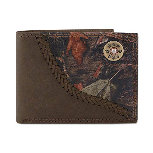 Zep-Pro Shotgun Shell Fencerow Braided Leather Bifold Concho - Bi College Wallet State Fold