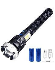 Vastfire Zaklamp met focus, verstelbaar, 5000 lumen, oplaadbaar, XHP 90 LED, krachtig, voor jacht en verkenning van redding in de open lucht
