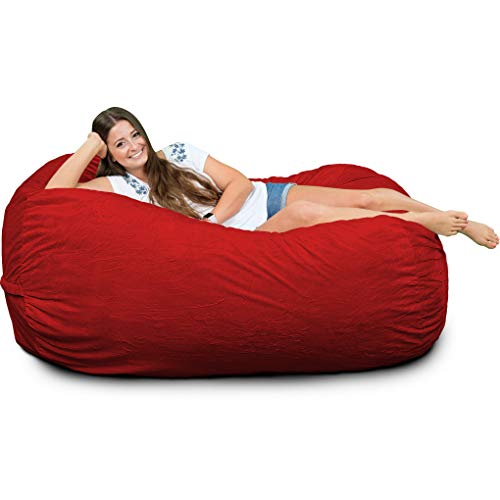 (ULTIMATE SACK Bean Bag Chairs in Multiple Sizes and Colors: Giant Foam-Filled Furniture - Machine Washable Covers, Double Stitched Seams, Durable Inner Liner. (Lounger, Red Suede) )