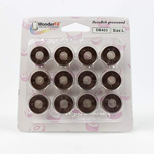 (WonderFil, Specialty Threads, DecoBob, Pre-Wound Bobbins, Size L - Brown)