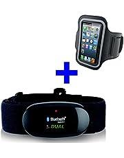 Bluetooth 4.0y ANT pectoral + brazalete iPhone 4s, 5, 5C, 5S, 6, 6s, 7, 7s para Runtastic, Wahoo, Strava App, Medidor de frecuencia cardíaca