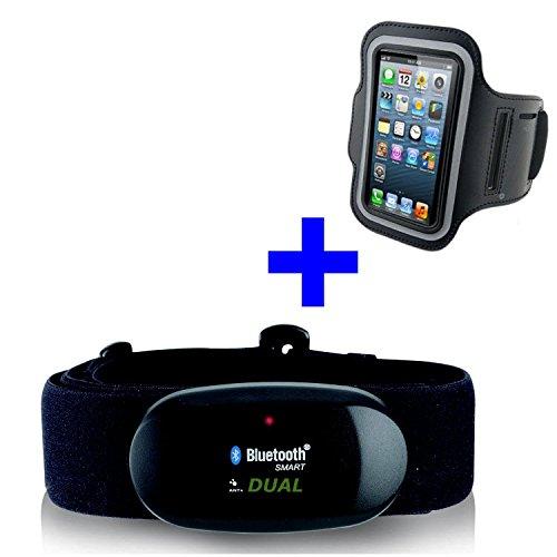 Bluetooth 4.0y ANT pectoral + brazalete iPhone 4s, 5, 5C, 5S, 6, 6s, 7, 7s para Runtastic, Wahoo, Strava App, Medidor de frecuencia cardíaca GO-SHOPPING24