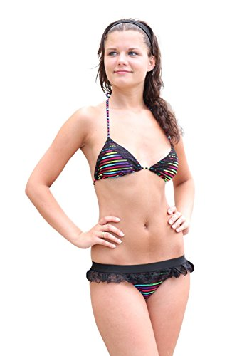 In Gear Bañador para mujer Bikini de Incisión Arcoiris (Rainbow)