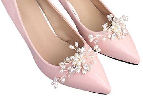 2PCS Handmade Pearl and Crystals Flower Shoe Clips Party Shoe Buckle Bridal Wedding Shoes Decoration Charms