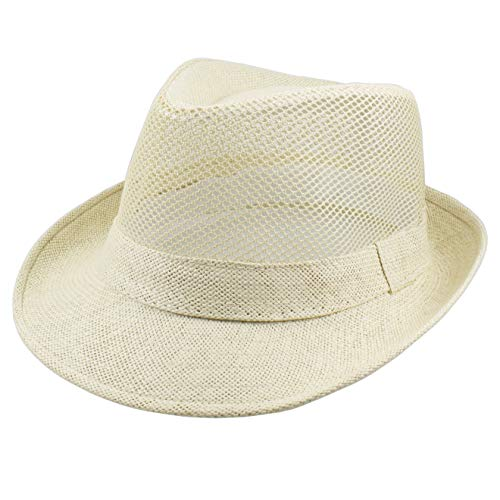 Gelante Summer Fedora Panama Straw Hats with Black Band (Large/X-Large, Beige Mesh)