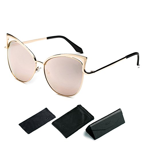 CHB Cat Eye Flash Mirror Lens Street Fashion Metal Frame Women Sunglasses - Inside With Mirrors Sunglasses