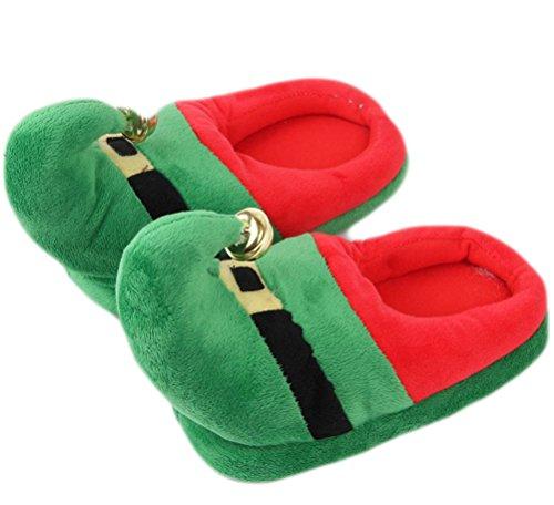 Auspicious beginning Unisex Men Women Winter Christmas Festival Holiday Slippers Warm Ankle Booties green(hat)