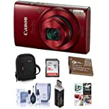 Canon PowerShot ELPH 190 IS 20MP Digital Camera, Red - Bundle With 16GB Class 10 SDHC Card, Camera Case, Spare Battery, Card Reader, Cleaning Kit, Software Package