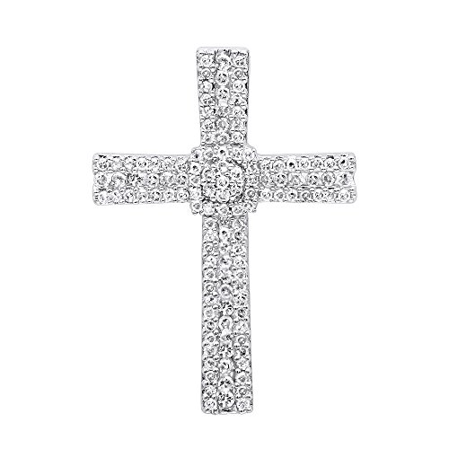14k Gold Mens Diamond Cross (14K Gold Small Iced Out Diamond Cross Pendant for Women & Men 0.4ctw (Yellow Gold))
