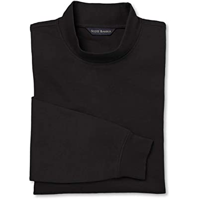 Scott Barber Men's Long Sleeve Pima Cotton Interlock Mock Turtleneck at Men's Clothing store