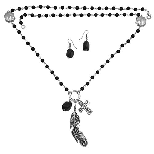 - Gypsy Jewels Faith Cross Theme Mixed Charms Long Tassel Necklace & Earring Set (Black Feather)
