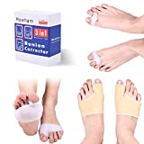 Bunion Corrector & Bunion Relief 6pcs Big Toe Separators Set - in Hallux Valgus,Non-Slip Protector Sleeves | Hammer Toe Straighteners | Bunion Pads
