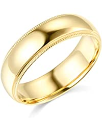 Mens 14k Yellow -OR- White Gold Solid 6mm COMFORT FIT Milgrain Traditional Wedding Band Ring