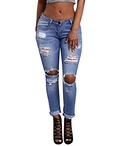 Dcontract Dchir Trous Stretch Skinny Jeans Femme Collant Jean Pantalons Comme Image