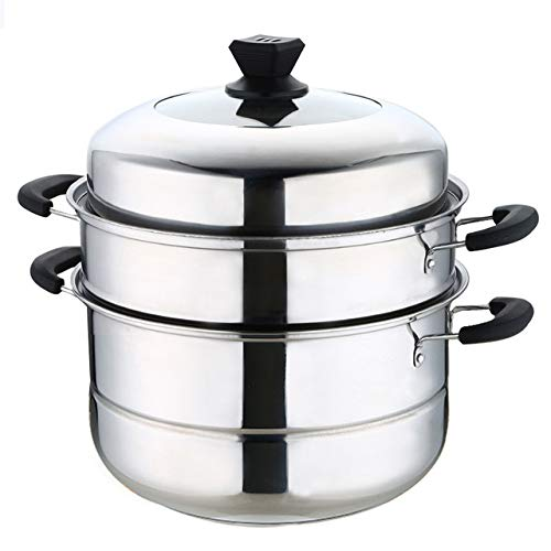 11 inch Stainless Steel 3 Tier Layer Steamer cooking Pot Steaming Cookware, Double Boilder, steam soup pot and steamer Work with Gas, Electric and Grill Stove (Thicken)