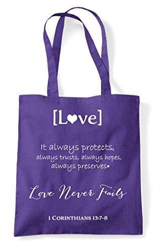 Passage Never Fails Love Shopper Tote Bag Purple xnEzzZ