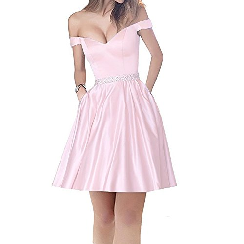 Plus Size Off Shoulder Short Beaded Satin Corset Prom Homecoming Dresses Light Pink US 22W by Lemai
