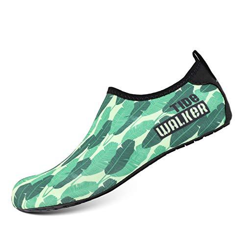 Heeta Water Sports Shoes for Women Men Quick Dry Aqua Socks Swim Barefoot Beach Swim Shoes Leaf_green