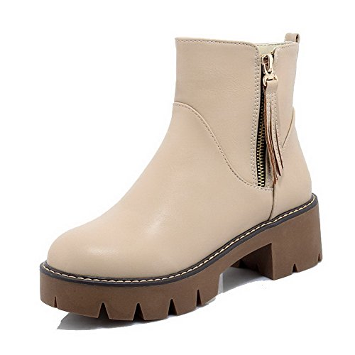Allhqfashion Women's PU Zipper Round Closed Toe Kitten-Heels Low-Top Boots Apricot