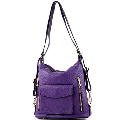 de Purple Ital en cuir modamoda T174 Damenrucksack sac Odq01nwT