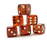 x6 Proper size Amber Dice set for Board games and Gambling