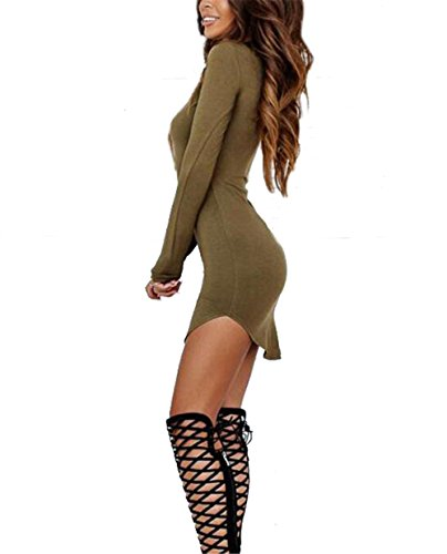 Render Allonly Shirt Green Mini Tight Short Dress Blouse Long Sleeve Women wrqp4rX