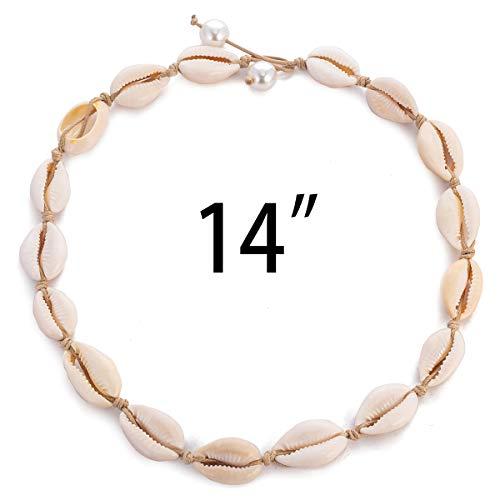 TOMLEE Natural Cowrie Shell Beads Handmade Brown Rope Choker Necklace Boho Hawaii Chocker Summer Jewelry for Women Girls Gift (White & 14