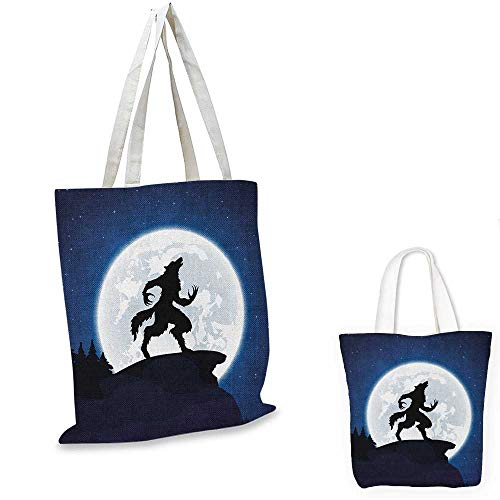 Wolf portable shopping bag Full Moon Night Sky Growling Werewolf Mythical Creature in Woods Halloween shopping bag for women Dark Blue Black White. 15