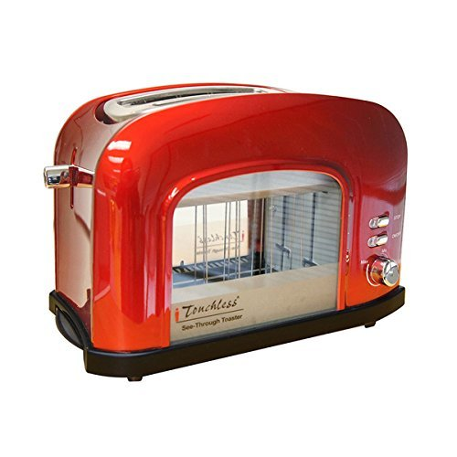 ITouchless Candy Apple Red See-through Automatic 2-slice Bread Toaster, SHT2GR by Product iTouchless