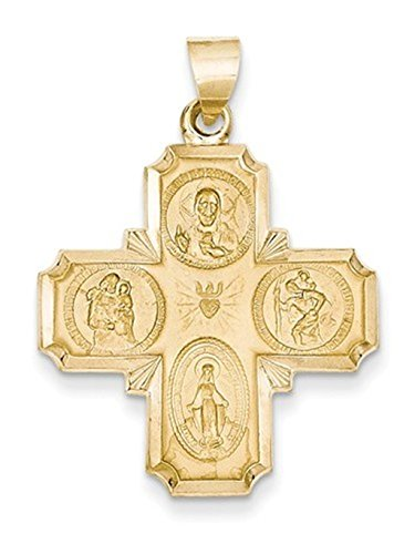 14k Yellow Gold Four-Way Medal Pendant (34X25 MM) ()