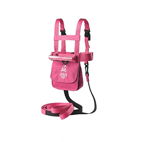 Launch Pad Ski and Snowboard Training Harness - Teaches Speed Control - Shock Absorbing Leashes - Perfect for Beginners (Pink)
