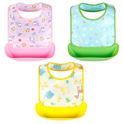 Growth Pal 3 Pack Waterproof Baby Bibs with Adjustable Snaps Easy to Clean Feeding Bibs for Girls-01