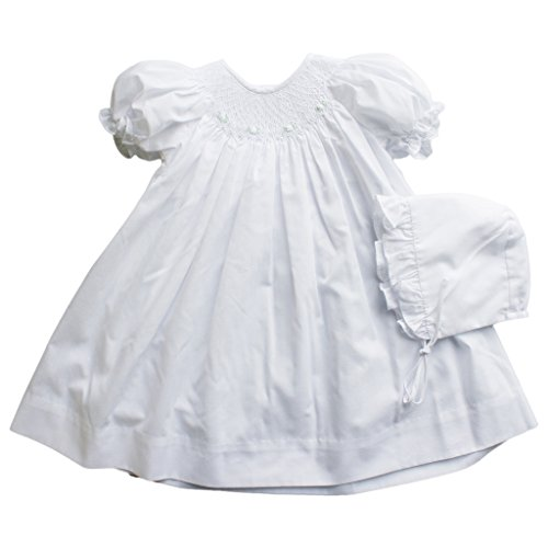 Petit Ami Daydress With Raglan Sleeves and Smocking and Embroidery in White (White Dress Baby Smocked)