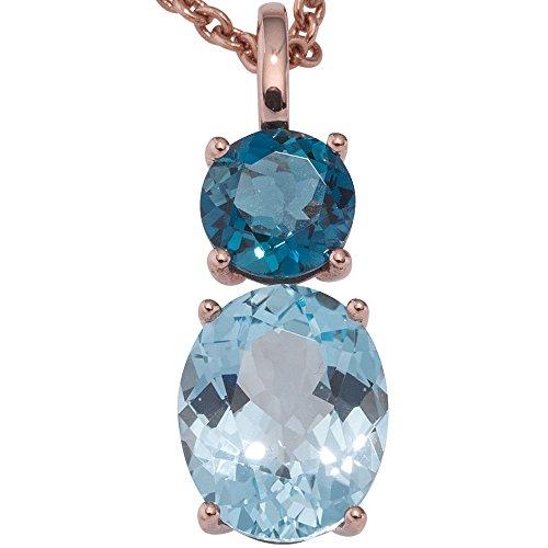 JOBO pendentif en or rose 585 1 topaze bleu goldanhänger london