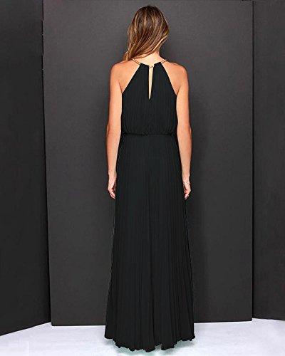 Vestido de Coctel Mujer Largo Vestido Gasa Cabestro Vestidos Sin Mangas Vestido de Fiesta Negro