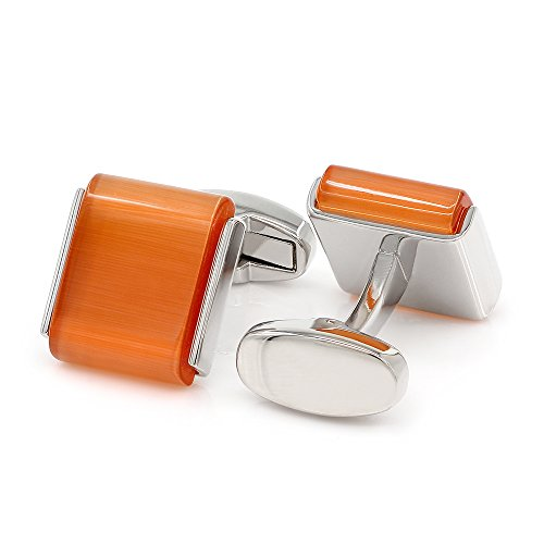 Kemstone Orange Opal Silver Tone Cufflinks (Tone Cufflinks Mens)