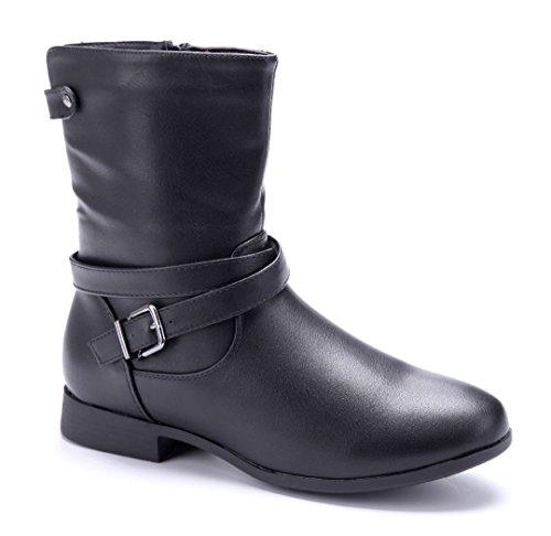 Schuhtempel24 Damen Schuhe Flache Stiefeletten Stiefel Boots Flach Schnalle 2 cm Schwarz