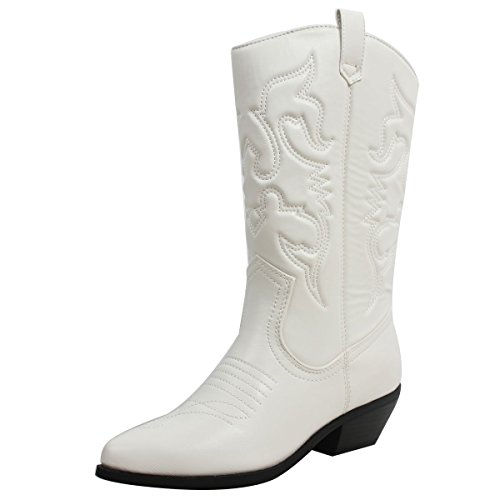 SODA Women's Reno-S Knee-High Pointed Toe Western Cowboy Boots (5.5 M US, White Pu)