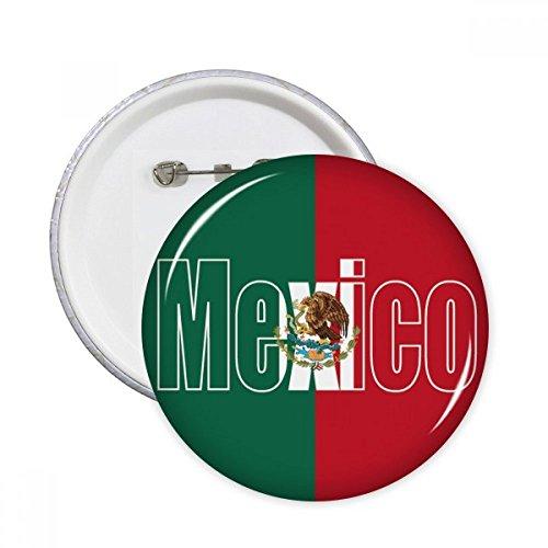 México bandera de país nombre redonda alfileres botón de insignia de la ropa decoración 5pcs regalo, Multicolor, XXL