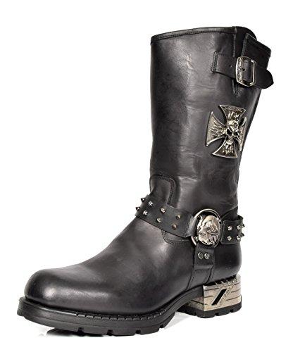 Schwarz Leder Echtes Wadenlänge Stiefel Biker Herren Harness Design Rock Schuhe New XOfzw