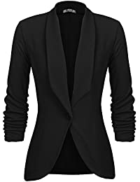 Women's 3/4 Stretchy Ruched Sleeve Open Front Lightweight Work Office Blazer Jacket S-XXL