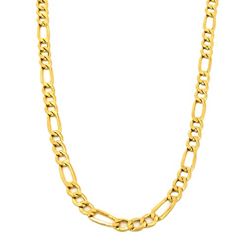 Real 10K Yellow Gold Hollow Figaro Chain Necklace 16