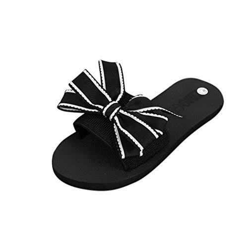 IGEMY Mädchen Bow Sommer Sandalen, Slipper Indoor Outdoor Flip-Flops  Strandschuhe Schwarz