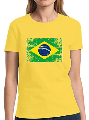 Vizor Brazil Flag Shirt Women's Brazilian Football Tshirt Brazil Shirt for Women Yellow 2XL