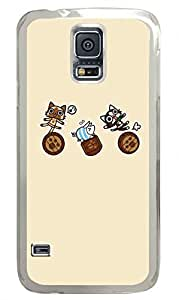 Two Catoon Cat Clear Hard Case Cover Skin For Samsung Galaxy S5 I9600