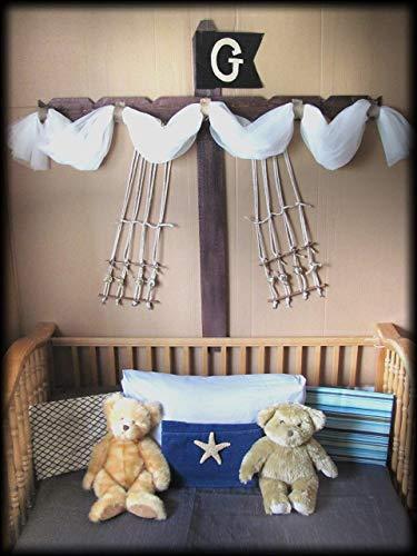 (Boys Bed CriB canopy rustic Pirate Ship design Barn wood bedroom decor custom burlap rope Boat Sail Mast Nautical So Zoey Boutique SALE FrEE)