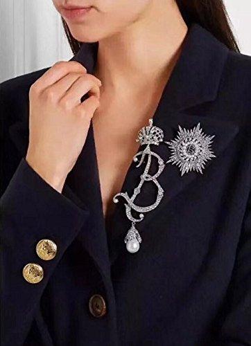 7b52ec73d9a Amazon.com  fashion full diamond pearl brooch pin badges stars ...