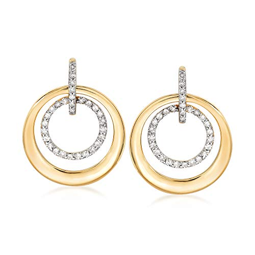 Ross-Simons 0.30 ct. t.w. Diamond Double Circle Drop Earrings in 14kt Yellow Gold