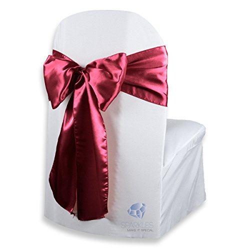 Sash Color Any (Sparkles Make It Special 50 pcs Satin Chair Cover Bow Sash - Burgundy - Wedding Party Banquet Reception - 28 Colors Available)